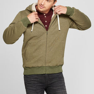 Men's Sherpa Lined Zip Hoody, Olive Heather